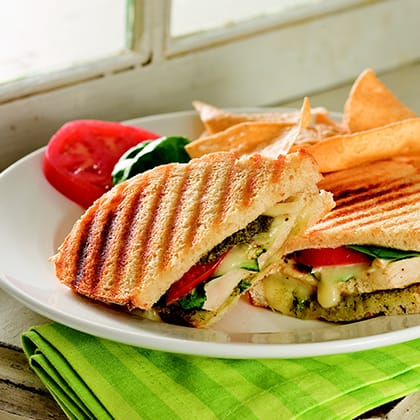 Grilled Chicken Sandwiches with Pesto, Brie & Arugula Thumbnail