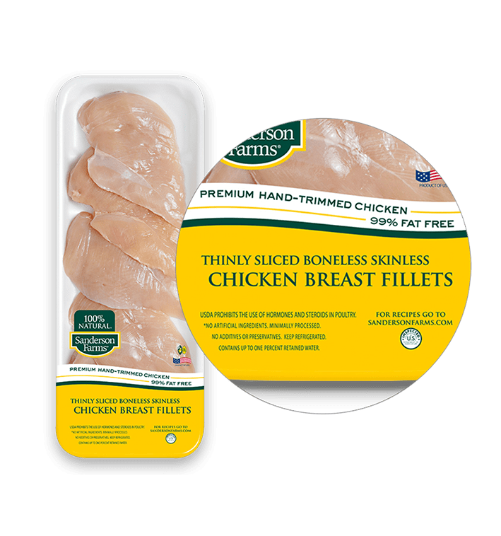 Premium Thinly Sliced Boneless Skinless Breast Fillets